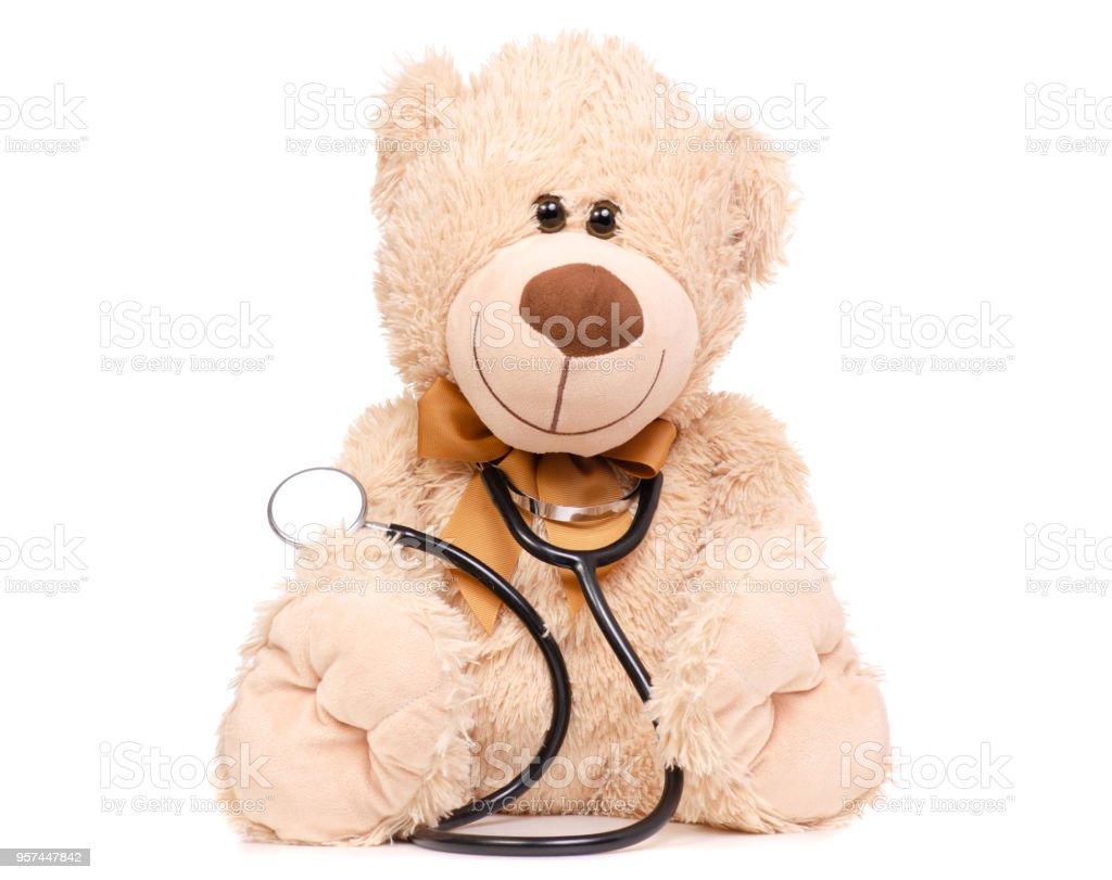 Toy bear stethoscope medical medicine stock photo