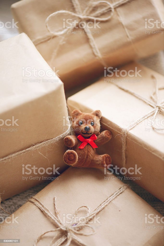 Toy bears and gift box