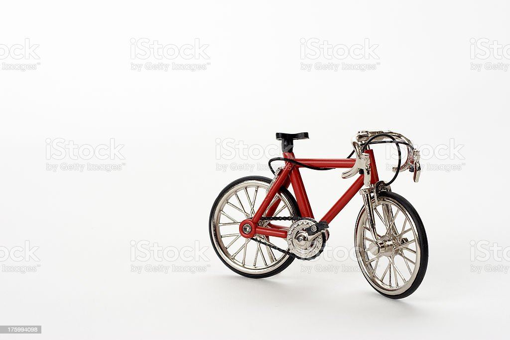 Toy bicycle on white background royalty-free stock photo