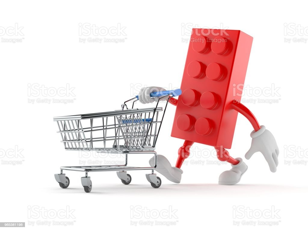 Toy block character with shopping cart royalty-free stock photo