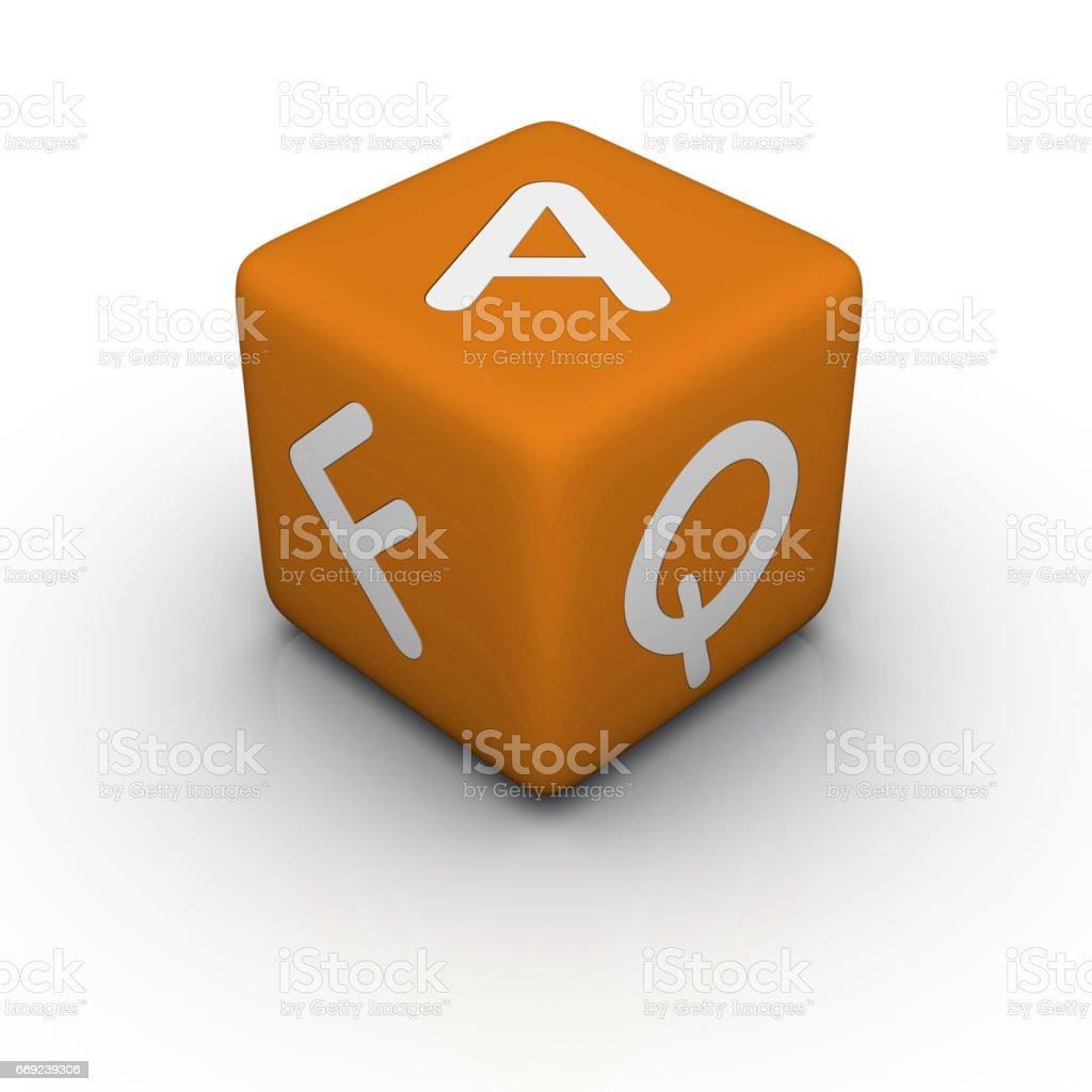 FAQ (Frequently Asked Questions) Toy Block, Single Cube. stock photo