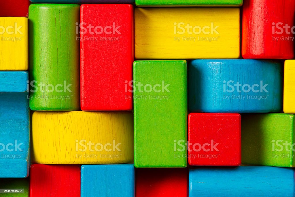 Toy Blocks Background, Organized Children Building Bricks stock photo