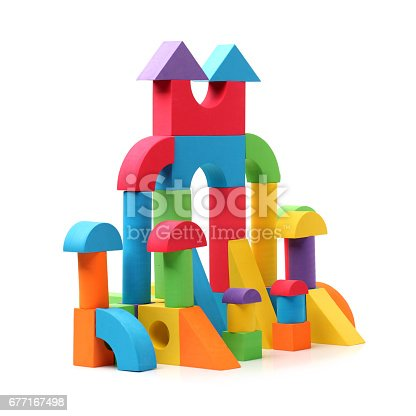 90871912istockphoto Toy Blocks City, Baby House Building Bricks, Kids Wooden Cubic 677167498