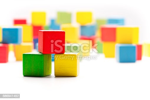 472923810 istock photo Toy Blocks Cubes, Three Wooden Babies Building Boxes, Empty Cubics 586941452