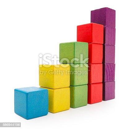 istock Toy Blocks Infographic Chart Stair Bar, Multicolor Kids Bricks, White 586944156