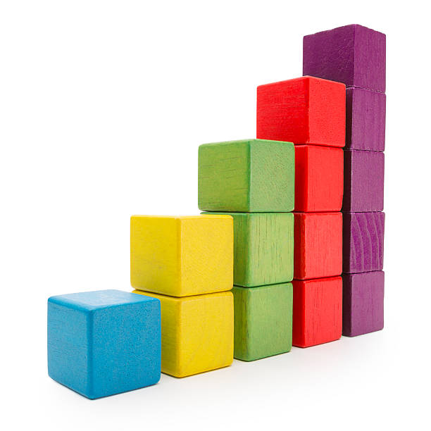toy blocks infographic chart stair bar, multicolor kids bricks, white - wachstumstabelle baby stock-fotos und bilder
