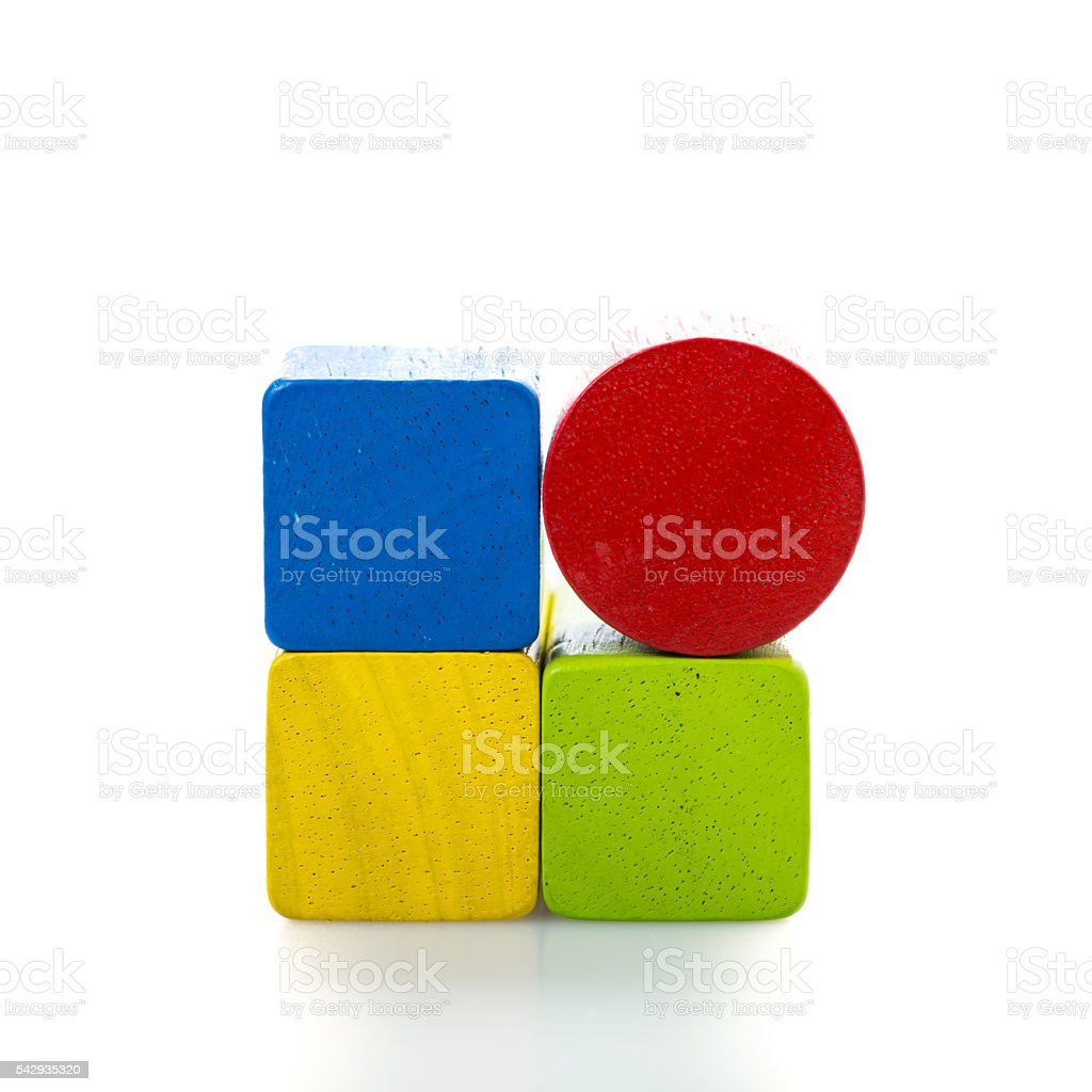 Foto de Toy Blocks Multicolor Wooden Bricks On White