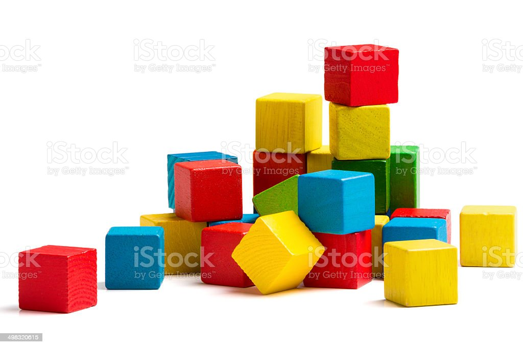 toy blocks pyramid, multicolor wooden bricks stack isolated white background stock photo