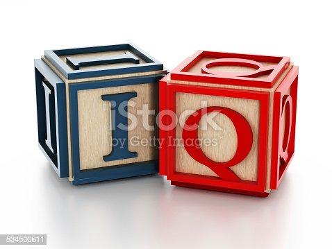 istock Toy blocks with IQ text 534500611