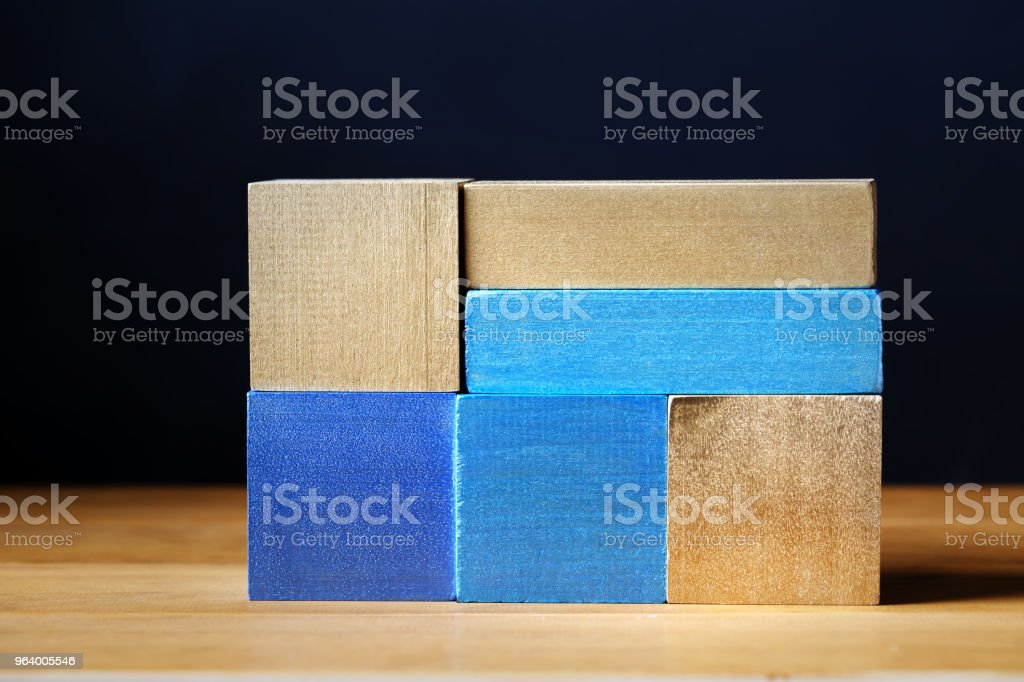 Toy blue wooden blocks abstract stack - Royalty-free Abstract Stock Photo