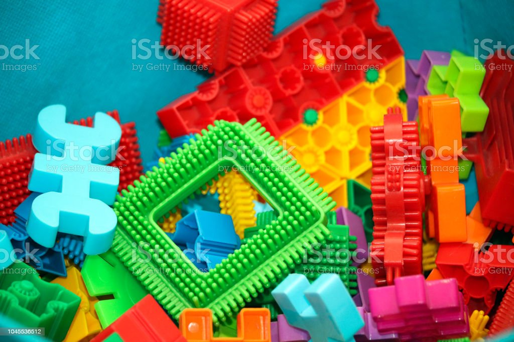 Toy building bricks stock photo