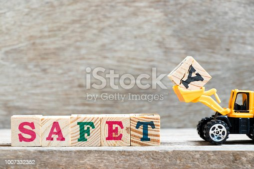 istock Toy bulldozer hold letter block y to complete word safety on wood background 1007332352