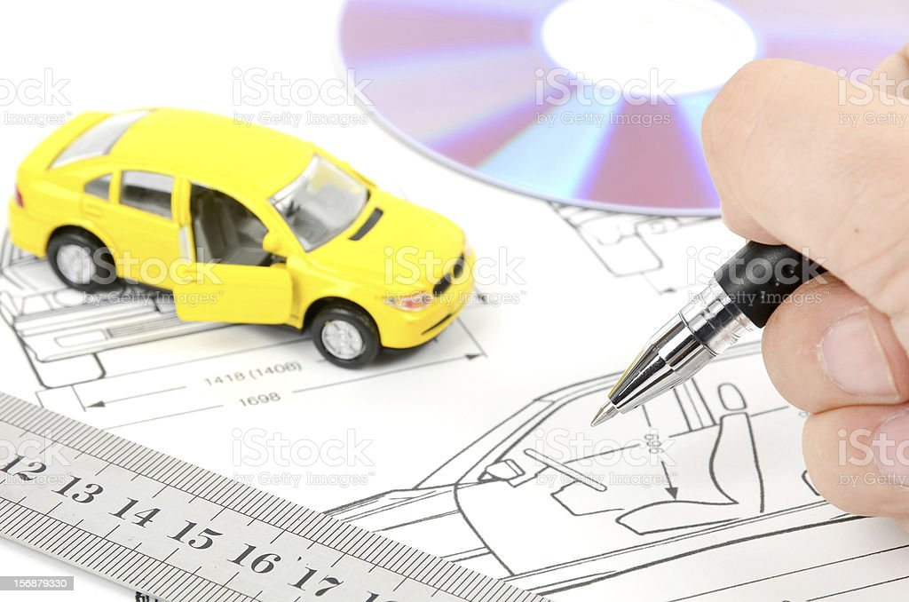 Spielzeugauto Und Technische Zeichnung Stock-Fotografie und mehr ...