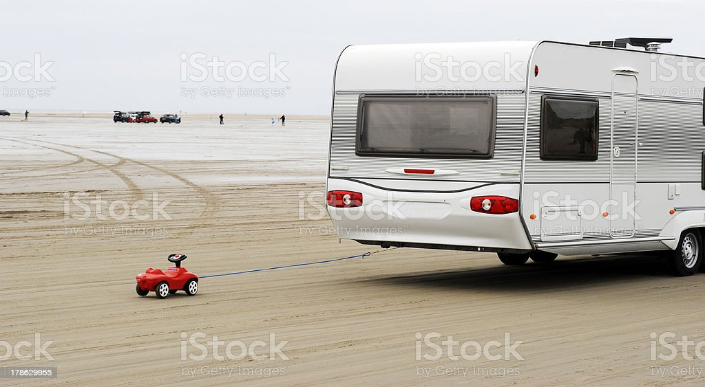 Toy car and caravan royalty-free stock photo