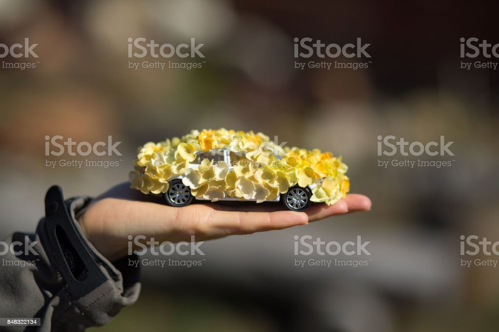 Toy Car decorated with flowers as eco friendly concept stock photo