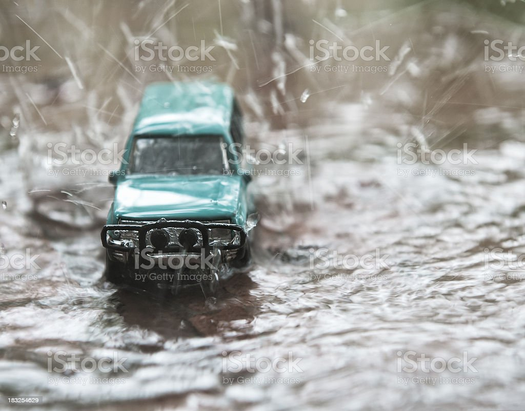 Toy Car in the Rain stock photo