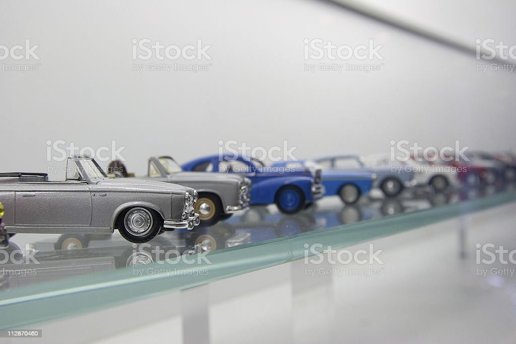 Toy cars in a row stock photo