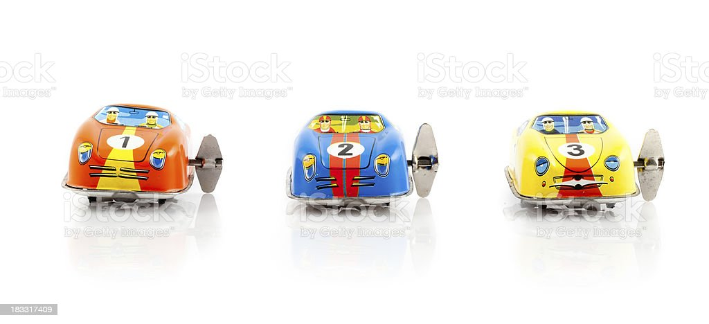 Toy cars ready to race royalty-free stock photo