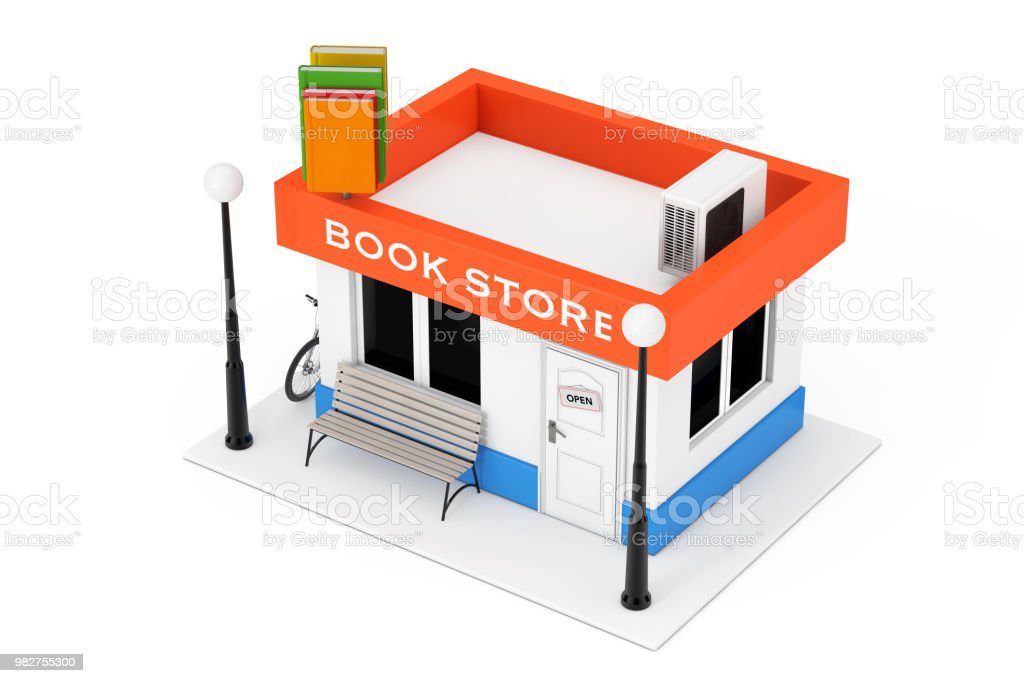 Toy Cartoon Book Shop Or Book Store Building Facade 3d Rendering Stock  Photo - Download Image Now
