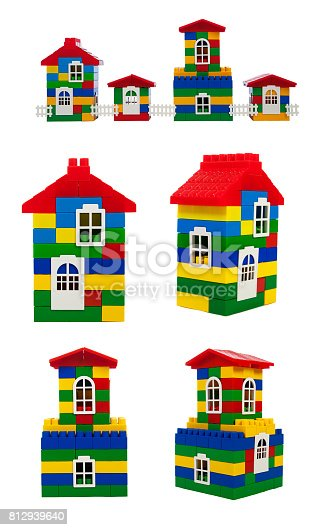 845555910 istock photo toy colorful  houses isolated on a white background, set. 812939640
