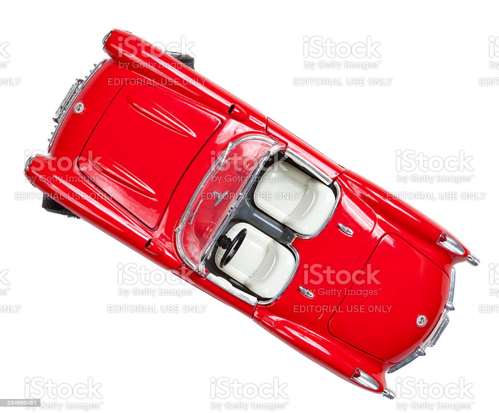 Toy Corvette Isolated on white with clipping path stock photo