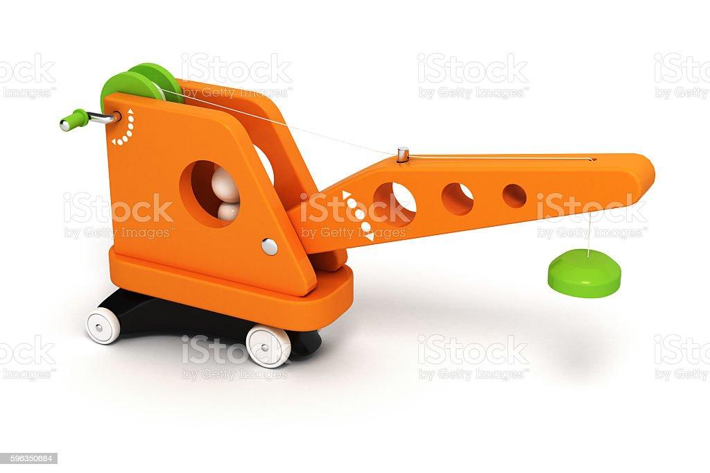 toy crane on white background 3d royalty-free stock photo