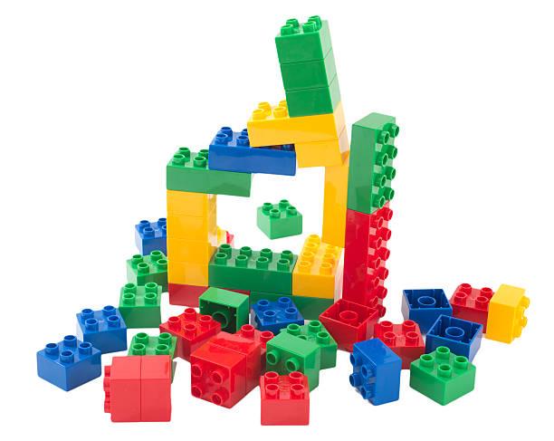 Spielzeug Würfel Entfernung-multi colored Bauklötze Duplosteine – Foto