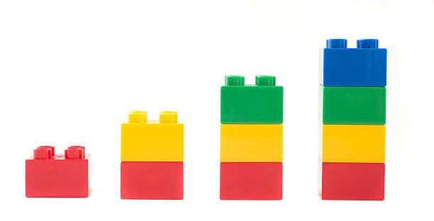 Spielzeug Würfel wachsender Tabelle-multi colored Bauklötze Duplosteine – Foto