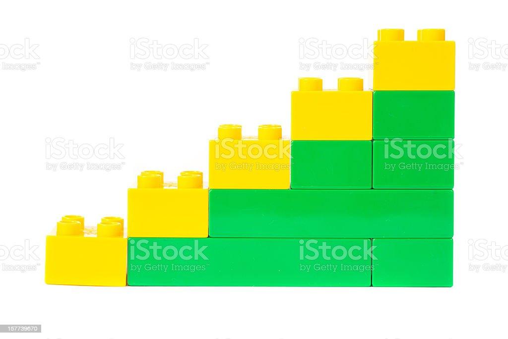 toy cubes success graph diagram stock photo