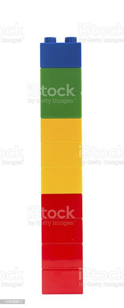 toy cubes tower - bunte Bauklötze Turm  plastic bricks temperature stock photo