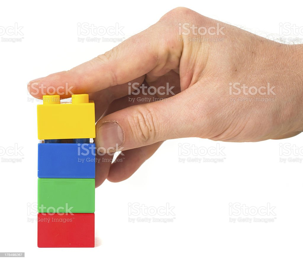 toy cubes tower stock photo