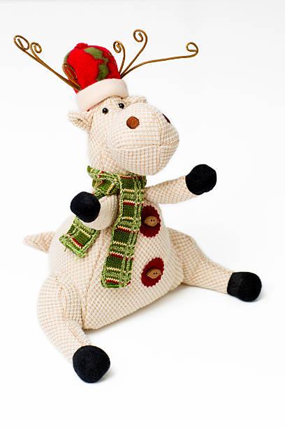 toy deer is on the white background. - weihnachtsspende stock-fotos und bilder