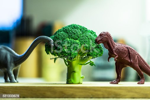 istock Toy dinosaurs and broccoli 531333629