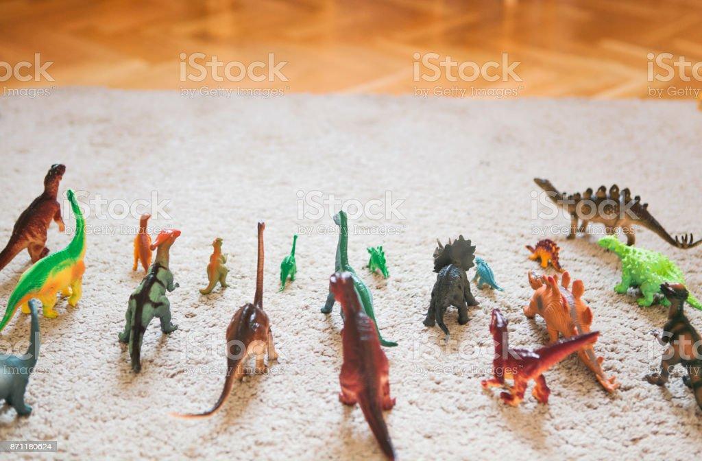 Toy dinosaurs stock photo