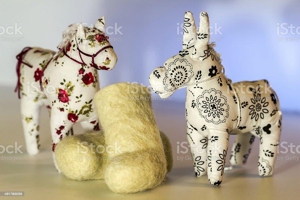 Игрушка donkey, лошадь и ботинки стоковое фото