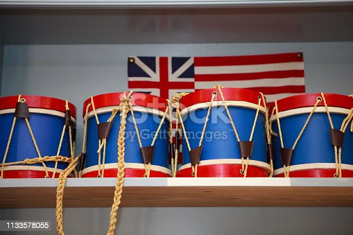 colonial inspired toy drums for sale in a market in Williamsburg, Va
