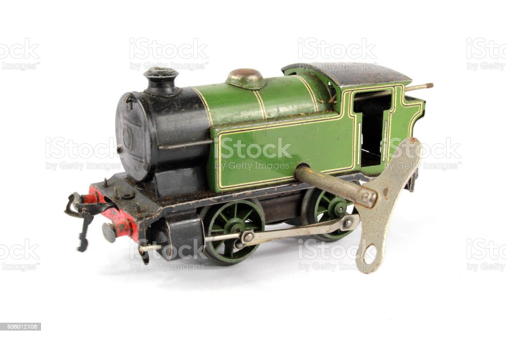 Toy Electric Model Train on White Background stock photo