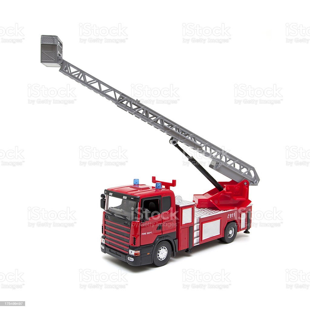 Toy Fire Engine isolated on white background royalty-free stock photo