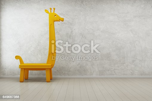 Toy Giraffe In Kids Room Of Modern House With Empty Concrete Wall Background Stock Photo More Pictures Abstract