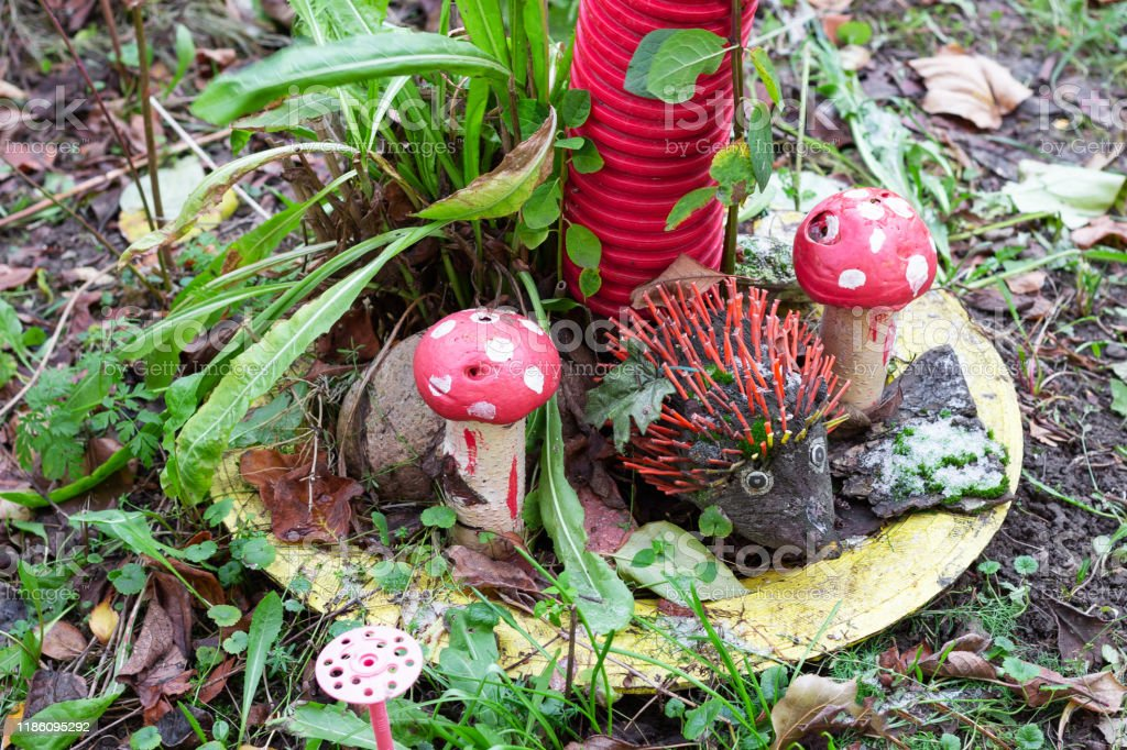 Toy Hedgehog With Mushrooms In The Garden Decorations For Backyard