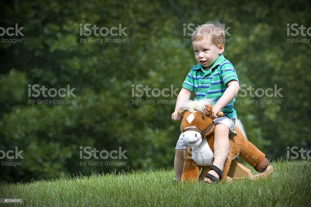 Toy horse and boy stock photo