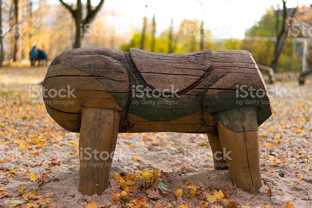 toy horse on a playground without head photo libre de droits