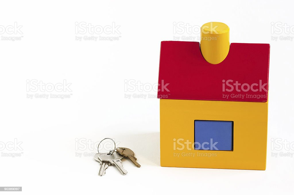 Toy house and keys royalty-free stock photo