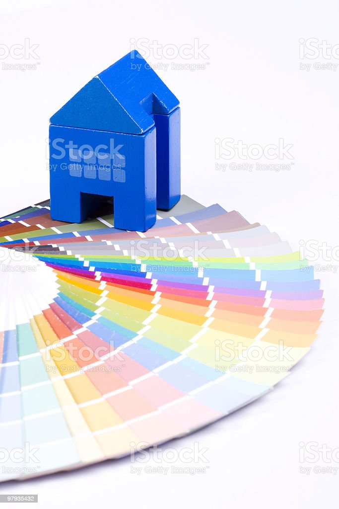 Toy house over a palette royalty-free stock photo