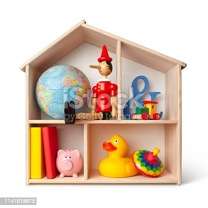 Toy house on white background.