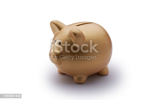 piggy bank with clipping path on white background