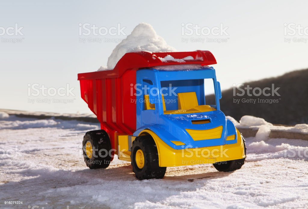 toy like snow removal machine stock photo