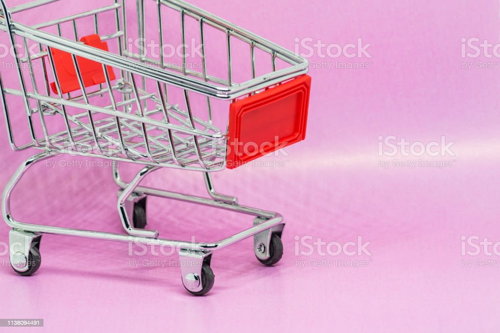 Toy Metal Shopping Cart Or Trolley On Gradient Pink Background With Copy Space Stock Photo Download Image Now Istock