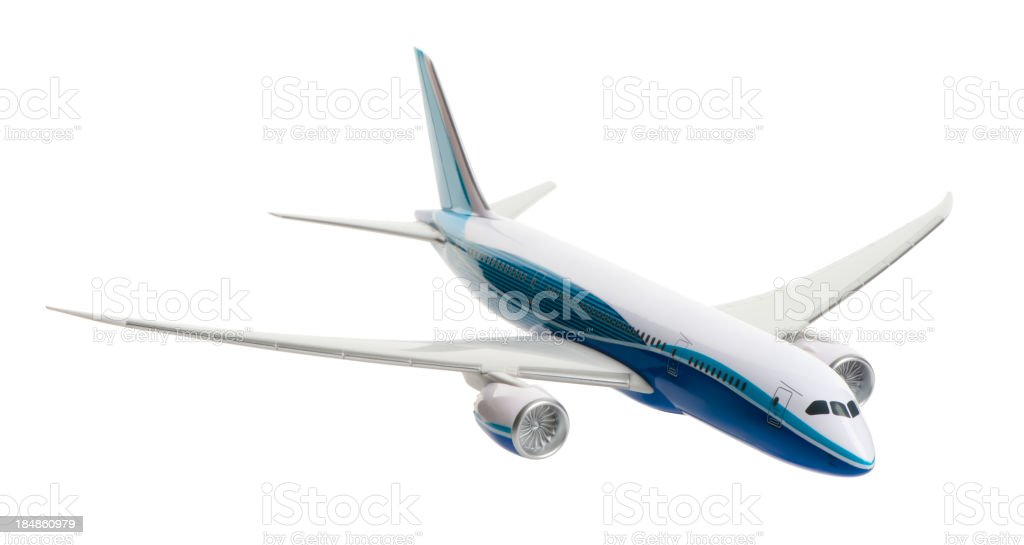 Toy Model Jetliner Airplane Isolated on White Background stock photo