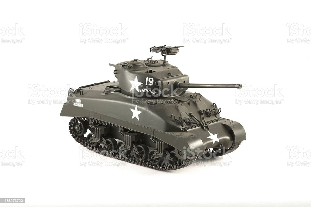 Toy Model of Sherman Tank Against White Background royalty-free stock photo